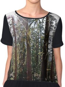 Sun Rays through Moss Covered Redwoods in Yosemite National Park Chiffon Top