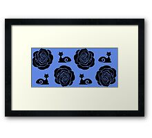 Cats and Roses (Cornflower) Framed Print