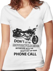 Custom Motorcycle Black Women's Fitted V-Neck T-Shirt
