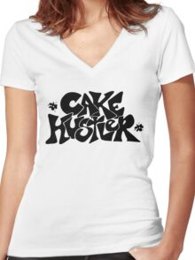 Cake Hustler : black letters Women's Fitted V-Neck T-Shirt