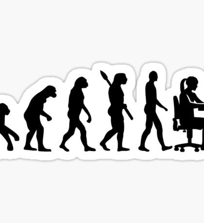 Evolution female graphic artist Sticker