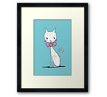 Cat with a ribbon Framed Print
