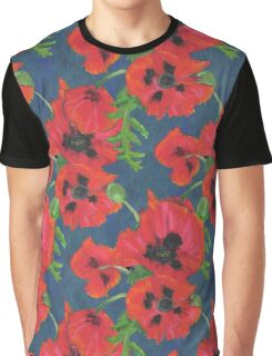 Bright Red Oriental Poppies Floral Pattern Blue Graphic T-Shirt