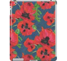 Bright Red Oriental Poppies Floral Pattern Blue iPad Case/Skin