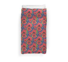 Bright Red Oriental Poppies Floral Pattern Blue Duvet Cover