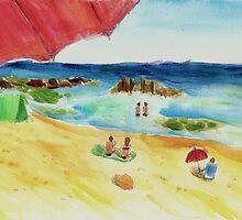 Monday at The Beach - Watercolor by ibadishi