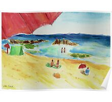 Monday at The Beach - Watercolor Poster