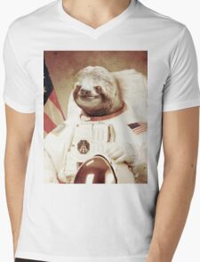 Astro Sloth Mens V-Neck T-Shirt