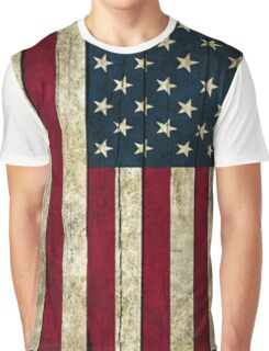 USA Flag - Wood Graphic T-Shirt