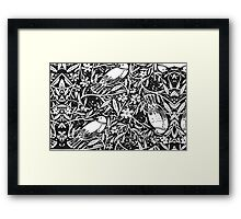 Black and White Sketch Bird Background Framed Print