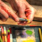 Artist Sharpening Color pencil by Jimmy Ostgard