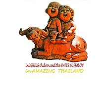 Laughing children and the water buffalo Photographic Print