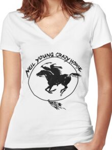 Neil Young Crazy Horse Women's Fitted V-Neck T-Shirt