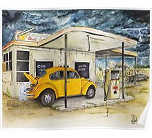 Taxi at Abandoned Petrol Station Poster