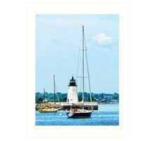 Boat Near Lighthouse, Bristol, RI Art Print