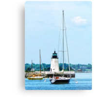 Boat Near Lighthouse, Bristol, RI Metal Print