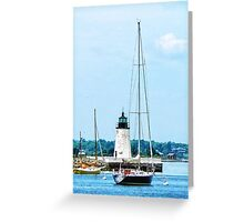 Boat Near Lighthouse, Bristol, RI Greeting Card