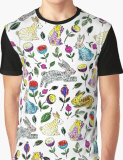 Modern blue yellow pencil hand drawn rabbit floral  Graphic T-Shirt