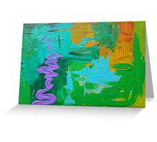 Green Blue Purple Abstract Greeting Card