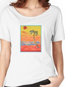 Tropical Collage in Red Women's Relaxed Fit T-Shirt