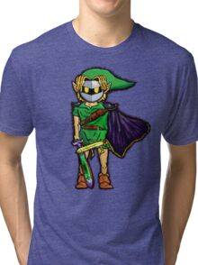 The Legend Of Zelda Meta Knight's Mask. Link's too powerful! (UNOFFICIAL) Tri-blend T-Shirt