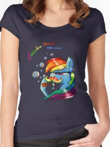 Rainbow - Stache 20% Cooler Women's Fitted Scoop T-Shirt