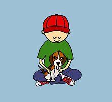 Cute Funny Boy Hugging Dog Unisex T-Shirt