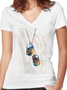 Military Art Dog Tags - Honor - By Sharon Cummings Women's Fitted V-Neck T-Shirt