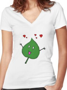 Love a leaf Women's Fitted V-Neck T-Shirt