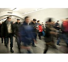 Avid reader on the subway Photographic Print