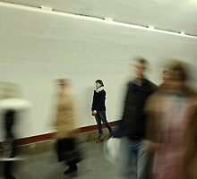 Lonely girl in the subway by valeriedesign