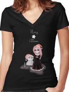 Black Xmas: A Merry Gothic Christmas Women's Fitted V-Neck T-Shirt