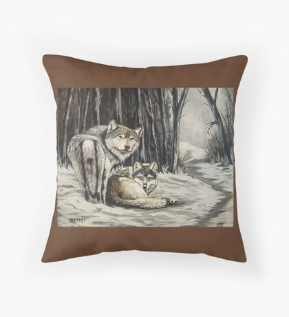 Dos Lobos Throw Pillow