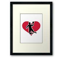 Handball player heart Framed Print