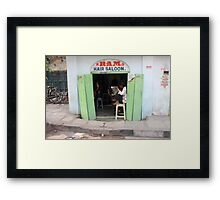 Ram Hair Saloon Framed Print