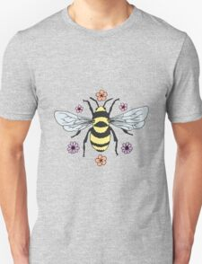 Bumblebee and Flower Blossoms Unisex T-Shirt