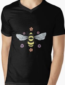 Bumblebee and Flower Blossoms Mens V-Neck T-Shirt