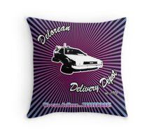 Delorean Delivery Depot Throw Pillow
