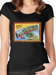 Providence Rhode Island Vintage Souvenir Post Card Women's Fitted Scoop T-Shirt