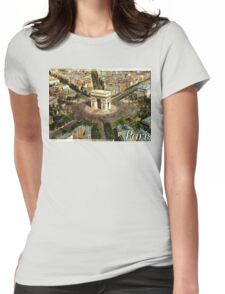 Old postcard from Paris, France Triumphal Arch Womens Fitted T-Shirt