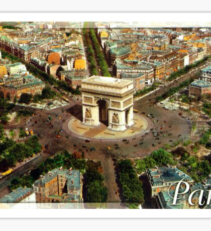 Old postcard from Paris, France Triumphal Arch Sticker