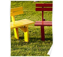 Colorful Benches Poster