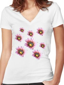 Pink Gazania Women's Fitted V-Neck T-Shirt