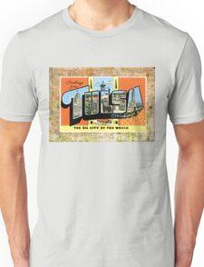 Tulsa Oklahoma Vintage Souvenir Post Card Unisex T-Shirt