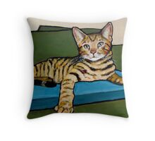 Bengal Cat on Couch, Original Painting Throw Pillow