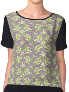 Elegant Lily-of-the-Valley Floral Pattern on Mauve Chiffon Top