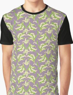 Elegant Lily-of-the-Valley Floral Pattern on Mauve Graphic T-Shirt