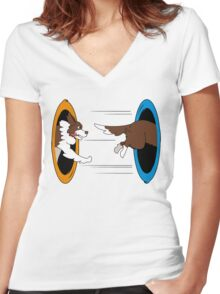 The Tail Chase Women's Fitted V-Neck T-Shirt