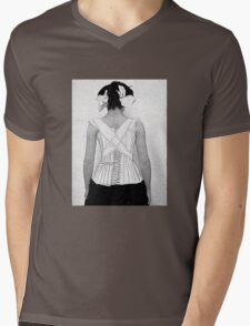 Mysterious Vintage Woman in Corset Mens V-Neck T-Shirt