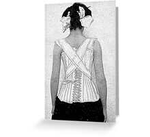 Mysterious Vintage Woman in Corset Greeting Card